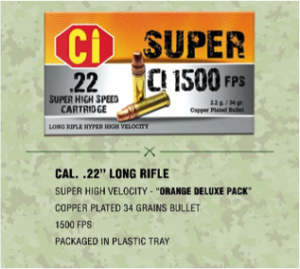 orange deluxe pack ammunition for Cal .22 long rifle