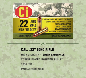 green camo pack ammunition for Cal .22 long rifle