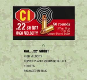 ammunition for Cal .22 short rifle
