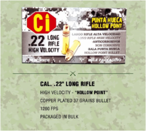 hollow point ammunition for Cal .22 long rifle