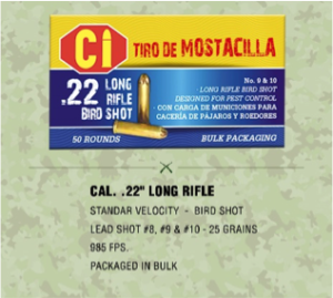 """standard ammunition rounds for cal .22"""" long rifle"""