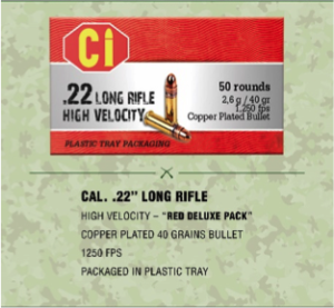 red deluxe ammunition for Cal .22 long rifle