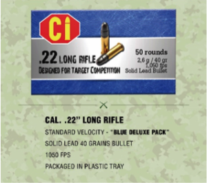 blue deluxe pack ammunition for Cal .22 long rifle